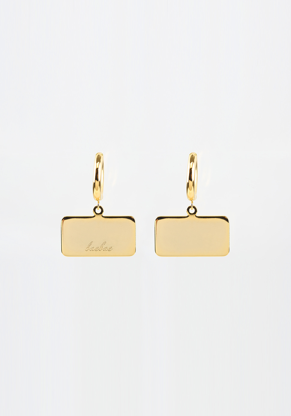 Bell Hoop Earring (square/gold)